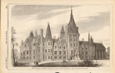 "1866 ANTIQUE ARCHITECTURE, DESIGN PRINT- THE FRENCH ""HOSPICE"", SOUTH HACKNEY"