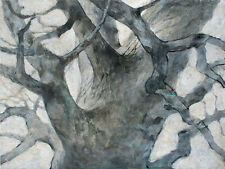 Floral-Garden-Tree-Trunk-Winter Modern Realism-Original Painting-Pojani, ipalbus