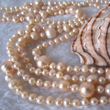 """52"""" 4-12mm Peach Pink Graduated Freshwater Pearl Strand Necklace Cultured"""