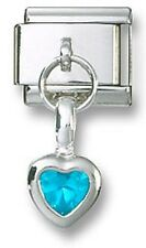 Italian Charm Dangle Birthstone Heart CZ 925 Sterling December Stainless Steel