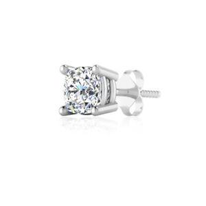 REAL 14K WHITE GOLD MEN'S SINGLE STUD EARRING 0.65 CT DIAMOND CUSHION SOLITAIRE