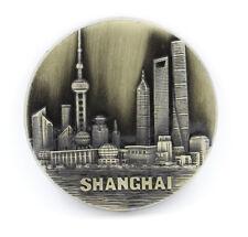 "3D Metal Round Fridge Magnet ""Landmark buildings Shanghai China"" Souvenir Gift"