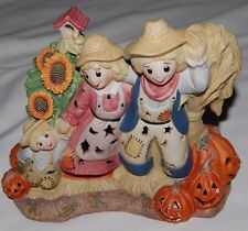 Vintage Partylite Scarecrow Autumn Fall Harvest Candle Votive Holder Halloween