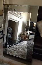 John Lewis Marietta Wall Mirror Grey / Smoked Glass 80x40cm Black Frame