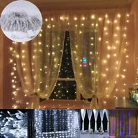 96/300/600 LEDs Curtain LED Fairy Light Waterfall Icicle Christmas Garden Party