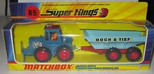 Matchbox Superkings K-5 MUIR - HILL TRACTOR AND TRAILER 'HOCH & TIEF' V RARE MIB