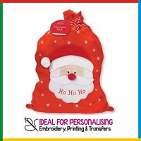 PERSONALISED SANTA XMAS SACK: ADD YOUR NAME Christmas Embroidered DELUXE BAG