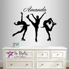 Vinyl Decal Customized Name Figure Skating Ice Sports Girls Kids Sticker 2051