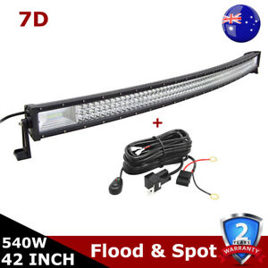Curved 540W 42inch LED Light Bar 7D Tri Row Offroad Driving Fog Car Lamp & Wire