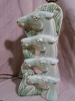 Vintage 1950's Ceramic Green 4 Horse Head Table Lamp