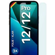 3x Schutzfolie Apple iPhone 12 / 12 Pro Display Folie Klar Matt 4H - KEIN Glas