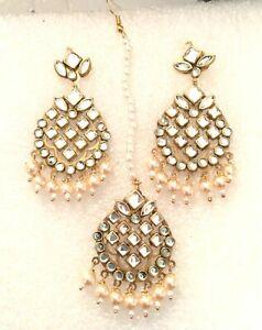 Bridal Maang Tikka Earrings Bollywood KUNDAN Gold Tone Indian Pearl Jewelry M-17