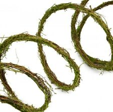 RUSTIC GREEN MOSS VINE TWIG ROPE GARLAND for CRAFTS, FAIRY GARDEN, or DECOR NWT