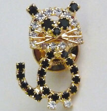 Cute Gold Tone Black & Clear Rhinestone Kitty Cat Kitten Tack Pin  X06*