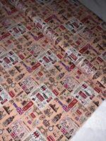 "1 Meter Peach London Print 100% Pure Cotton Fabric 45""Wide Dress Craft"