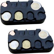 2x Euro-Münzsammler Münzbox Münzen-Sammler Kleingeldspender m. Schnell-Fixierung
