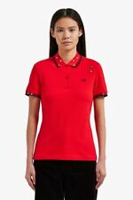 FRED PERRY Amy Winehouse Ladies Studded Hearts Pique Polo Shirt UK 8 BNWT Red