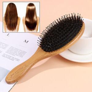 Hair Brush Wood Handle Boar Bristle Beard Brush Comb Detangling Straighteni U8_A