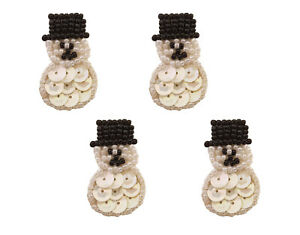 Lot of 4 Vintage 1980s Cute Miniature Snowman Christmas Beaded Sequined Applique