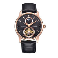 Tourbillon Automatic Mechanical Men's Watches Skeleton Hollow Dial Swiss Leather