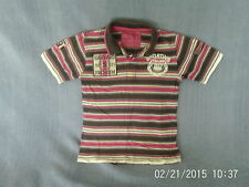 Boys 4-5 Years - Pink/Brown/White Striped Short Sleeve Polo Top with Logo