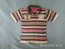 RAGAZZI 4-5 anni-rosa / marrone / bianca a righe Manica corta Polo Top con logo