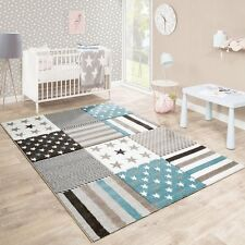 Nursery Rug Blue Beige Brown Stars Children Room Carpet Play Mat Small Large Xl
