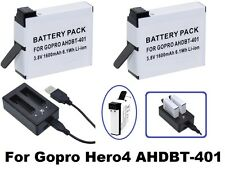 2-Pc Hi Capacity AHDBT-401 Battery & Dual Charger for GoPro HD HERO4 BlackSilver