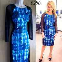 New Karen Millen graphic print blue black check bodycon dress UK 10 12 US 6 8