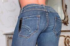 ANN CHRISTINE ladies elasticated straight leg dark blue jeans size 27