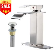 Brushed Nickel Bathroom Sink Waterfall Faucet Single Handle with 6