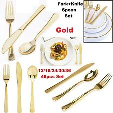 12/18/24/48pc Disposable Gold Plastic Cutlery Metal Look Knives Forks Spoons Set
