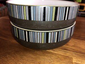 2 Denby jet stripes Cereal Bowls.