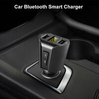 BG_ KF_ Dual-USB Bluetooth MP3 Player Car Charger Cigarette Lighter Adapter Wide