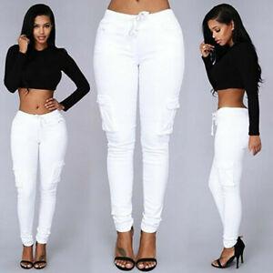 Women's Cargo Pants Ladies High Waist Jogger Skinny Trousers Pockets Sweatpants