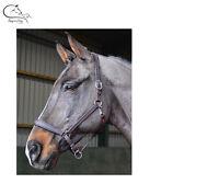 NEW John Whitaker Quality Leather Headcollar Pony Cob Full XFull Black & Havana