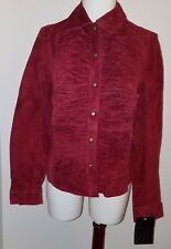 NEW Allan Denis Red Leather Shirt Jacket Women's Small Snap Front Ruffles