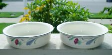 """Lenox Chinastone Usa Poppies On Blue ~ 2 Soup Cereal Bowls 6 1/4"""" ~ Excellent!"""