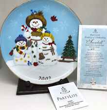 PartyLite Snowbell 2002 Collector Plate 9in Snowmen Le5816 Certificate Stand Box