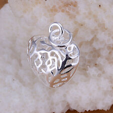 Silver Plated Small Antique Hollow Out Heart Necklace Pendant 2.1 * 1.5CM HW