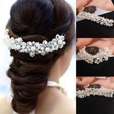 Braut Hochzeit Diamante Kristall Rhinestone Blumen Haar Clip Pin Stirnband  Weiß