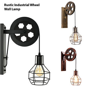 Wall Lamp Retro Wheel Light Rustic Vintage Pipe Industrial Steampunk Lighting UK