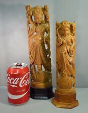 Two Indian Antique Carved Box Wood Deity Figures - Boxwood Large Examples