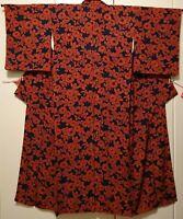 Woman, Japanese kimono, Komon, Silk, Navy Blue, Red, Flowers, Vintage