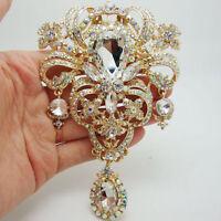 """5.04"""" Elegant Flower Drop Pendant Brooch Pin Clear AB Rhinestone Crystal"""