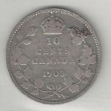 CANADA,  1903-H, 10 CENTS,  SILVER,  KM#10,  VERY GOOD-FINE