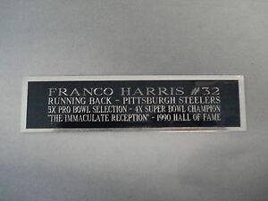 "Franco Harris Football Card Pittsburgh Steelers Display Case Nameplate 1.5"" X 6"""