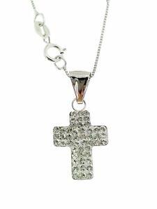 Collana Catenina Girocollo Croce Donna Oro Bianco 18 Kt Carati Ct 750 1,30 Gr
