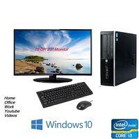Cheap Fast Full Set HP Elite Desktop SFF PC i3 8GB 500GB Monitor Windows 10 Pro