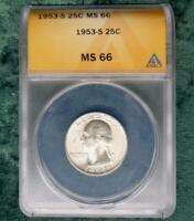 1953 S ANACS MS 66 Washington Silver Quarter, Gem MS 66 Silver 25 Cent Coin